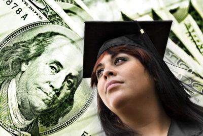 graduating student on dollar background